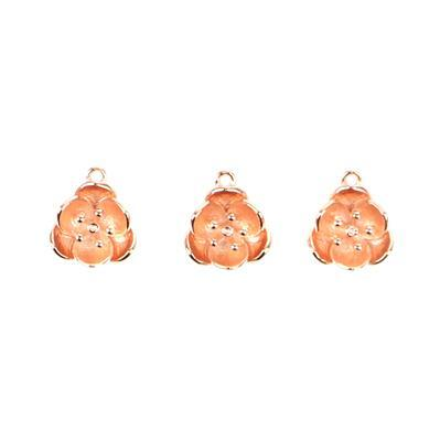 Rose Gold Plated 925 Sterling Silver Flower Charms Approx 10x5mm, 3pcs