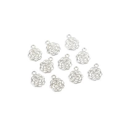 Silver Plated Base Metal Rose Charms Approx 15X12mm(10pcs)
