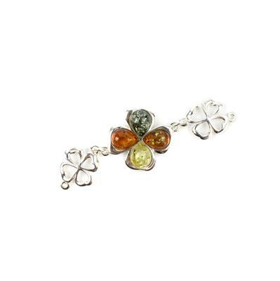 Baltic Cognac, Green, Lemon Amber Cabochon Drop in Sterling Silver Element Approx 61x19mm