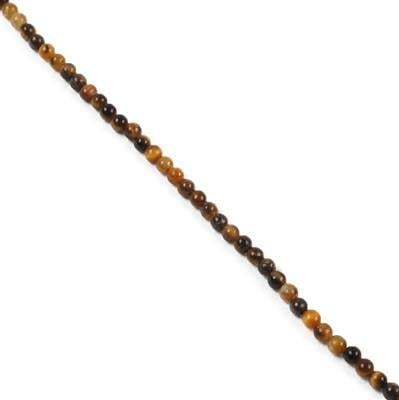 8cts Yellow Tigers Eye Plain Rounds Approx 2mm 38cm