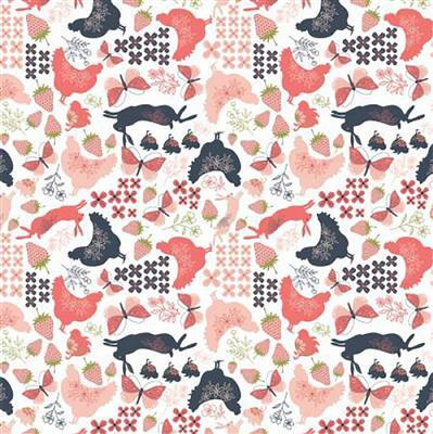 Daisy Mae Country Life Hens on White Fabric 0.5m