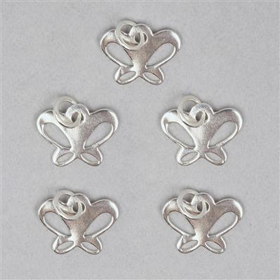 925 Sterling Silver Butterfly Charm Approx 10x13mm with 5mm Closed Ring (5pcs)