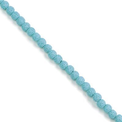 Min 120cts Sky Blue Lava Rock Beads Rounds Approx 8x9mm 38cm