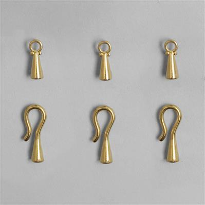 Gold Plated Copper Hook Clasp with Cord Ends 3.2mm (3pcs)