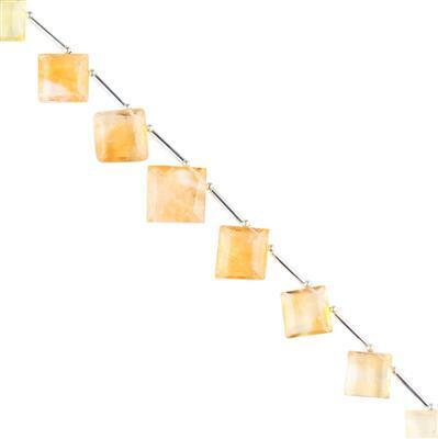 95cts Citrine Graduated Step Cut Squares Approx 14 to 19mm, 16cm Strand.