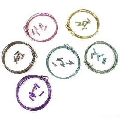 1.6mm Vintage Wire & Matching Crimp Tube Bundle, includes 6 colours at 3ft each