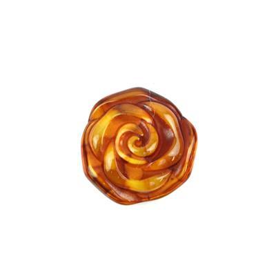 Cognac Baltic Amber Rose from Approx 10- 17mm