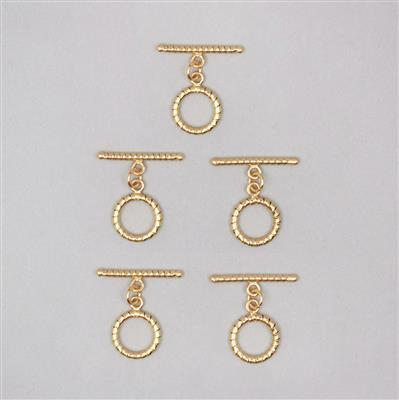 Gold Plated Copper Twisted Toggle Clasps T-Bar Approx 32mm & Round Approx 18mm (5pcs)