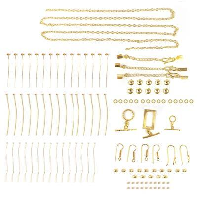 Gold Plated Copper Essential Finding Kit Organza Bag, Approx 118Pcs.