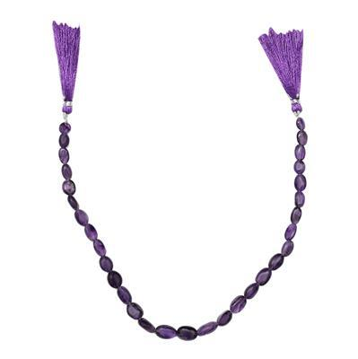 85cts Amethyst Graduated Plain Ovals Approx From 7x6 to 14x9mm, 30cm Strand.