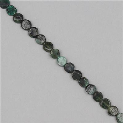 55cts Shaded Emerald Graduated Irregular Plain Buttons Approx 5 to 8mm, 31cm Strand.