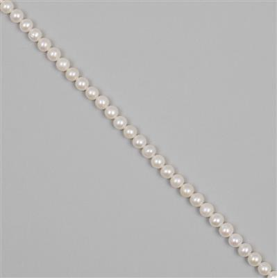White Freshwater Cultured Pearl Near Rounds - Approx 6mm