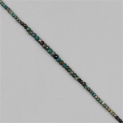 35cts Chrysocolla Graduated Faceted Rondelles Approx 2x1 to 4x3mm, 32cm Strand.