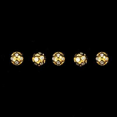 Gold Plated 925 Sterling Silver Cubic Zirconia Cluster 3D Ball Spacers 5mm , 5pcs
