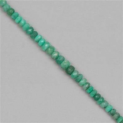 28cts Emerald Graduated Faceted Rondelles Approx 2x1 to 5x4mm, 18cm Strand.