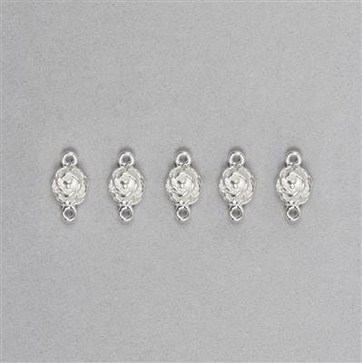 925 Sterling Silver Rose Flower Connectors Approx 11x6mm, 5pcs