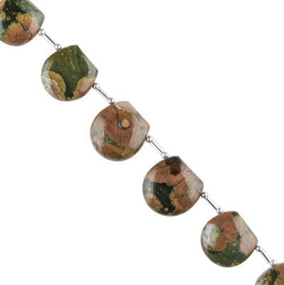 80cts Rhyolite Graduated Plain Fancy Hemispheres Approx 13 to 16mm, 14cm Strand.