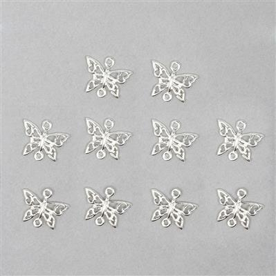 925 Sterling Silver Butterfly Charms Approx 11x9mm (10pcs)