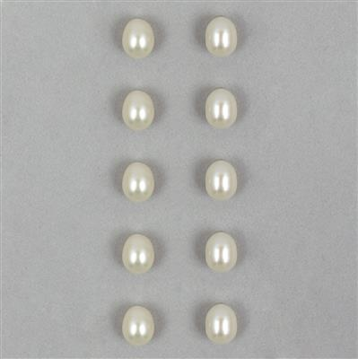 White Freshwater Cultured Pearl (Half Drilled) Drops Approx 8x7mm (10 pcs/ Set)