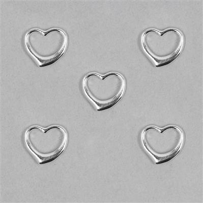 925 Sterling Silver 13mm Heart Charm 5pcs/bag
