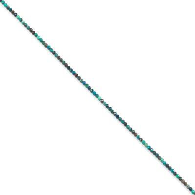 10cts Chrysocolla Faceted Rounds Approx 2mm, 38cm strand