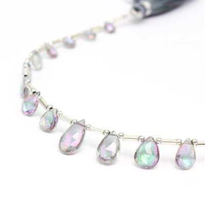 24cts Mystic Topaz Graduated Faceted Pears Approx 6x4 to 8x5mm, 18cm Strand.