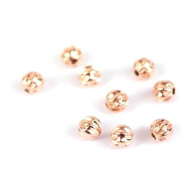 Rose Gold Plated 925 Sterling Silver Ribbed Beads Approx  5mm 10 Pcs