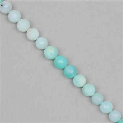 75cts Shaded Sky Blue Opal Graduated Faceted Rounds Approx 7 to 8mm, 20cm Strand.