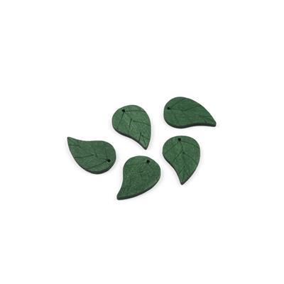 Green Wooden Leaves Approx 28x18mm (5pcs/pack)