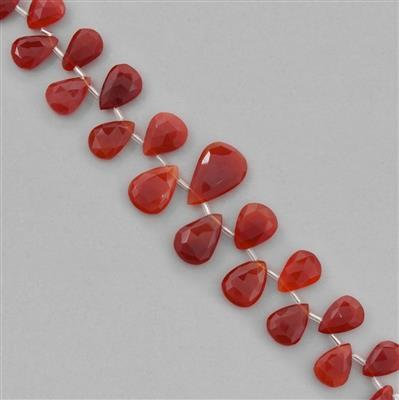 160cts Red Onyx Graduated Faceted Pears Approx 13x8 to 24x16mm, 18cm Strand.
