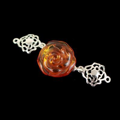 Baltic Cognac Amber Rose Sterling Silver Connector Approx 46x16mm