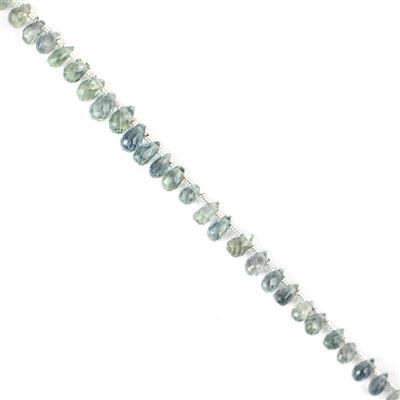 16cts Bi-Colour Sapphire Graduated Faceted Drops Approx 2x1 to 4x2mm, 20cm Strand.