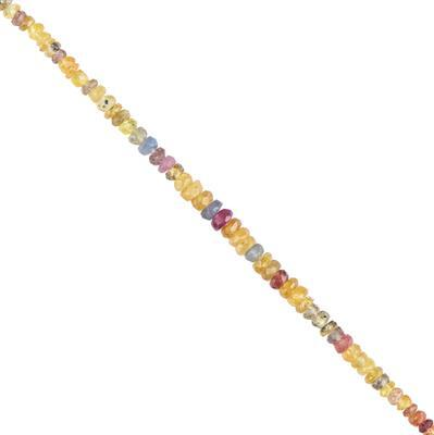 15cts Multi-Colour Sapphire Graduated Faceted Rondelles Approx 2x1 to 3x2mm, 16cm Strand.