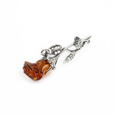 Baltic Cognac Amber Sterling Silver Rose Connector Approx 43x14mm