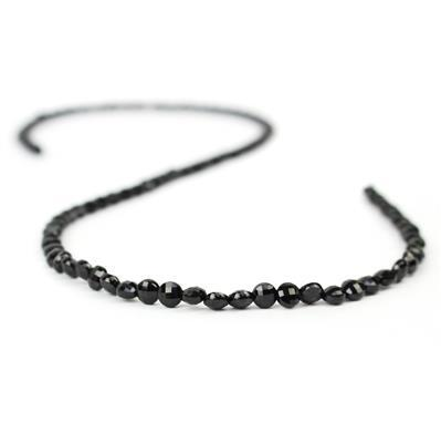 25cts Black Spinel Faceted Coins Approx 4mm, 38cm strand