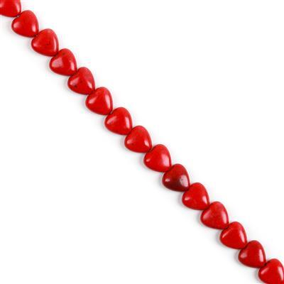 90cts Red Magnesite Puffy Hearts approx 10mm 38cm