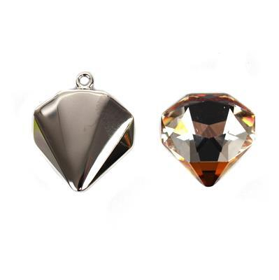 Swarovski Pendant, Crystal Copper F2948 Tilted Chaton 12mm with Rhodium Top Loop Setting, Pk1