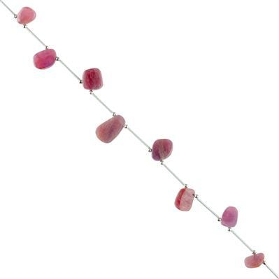 30cts Ruby Graduated Plain Slices Approx 8x6 to 12x9mm, 14cm Strand.