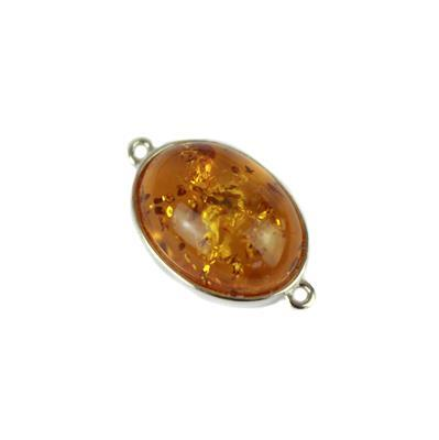 Baltic Cognac Amber Oval Cabochon Connector Approx 22x13mm Sterling Silver Element