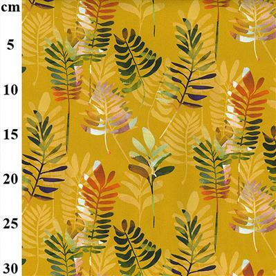 100% Cotton Canvas Multi Coloured Leaves on Ochre Fabric 0.5m