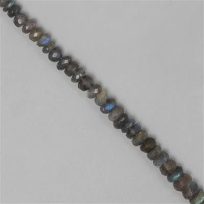 90cts Labradorite Graduated Faceted Rondelles Approx From 5x3 to 7x3mm, 25cm Strand.