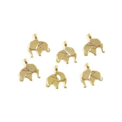 Gold Colour Base Metal Origami Elephant Charms Approx 17x19mm(6pcs)