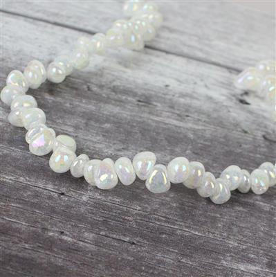 300cts Rainbow Coated Crackled White Quartz Nuggets Approx 9x8mm-11x9mm, Approx 38cm strand