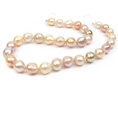 Hand Selected Mixed Natural Colour Freshwater Cultured Nucleated Near Round Pearls Approx 10-14mm, 38cm Strand