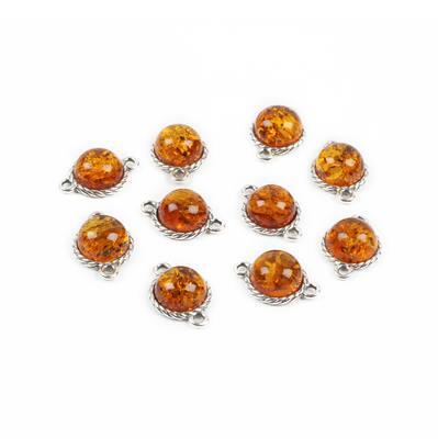 Baltic Cognac Amber Sterling Silver Round Connectors - 7mm - 10pcs