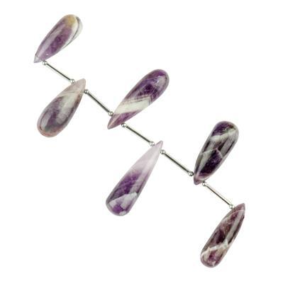 140cts Chevron Amethyst Graduated Plain Elongated Drops Approx 23x8 to 35x10mm, 10cm Strand.