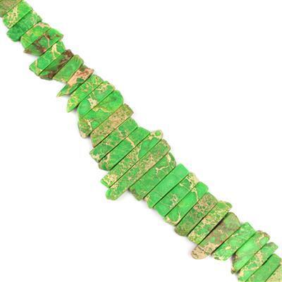430cts Grass Green Terra Jasper Graduated Bars Approx 6x15-8x60mm, 38cm