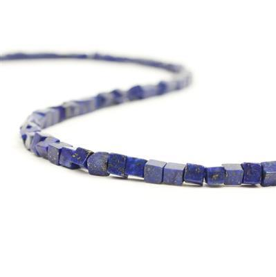 80cts Lapis Lazuli Cube Approx 4mm, 38cm strand
