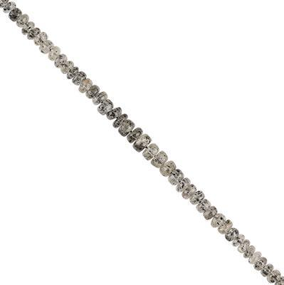 25cts Black Rutile Graduated Plain Rondelles Approx 3x2 to 5x2mm, 20cm Strand.