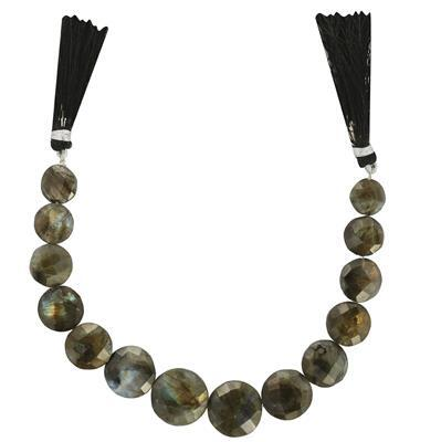 135cts Labradorite Graduated Faceted Puffy Coins Approx 8 to 18mm, 17cm Strand.